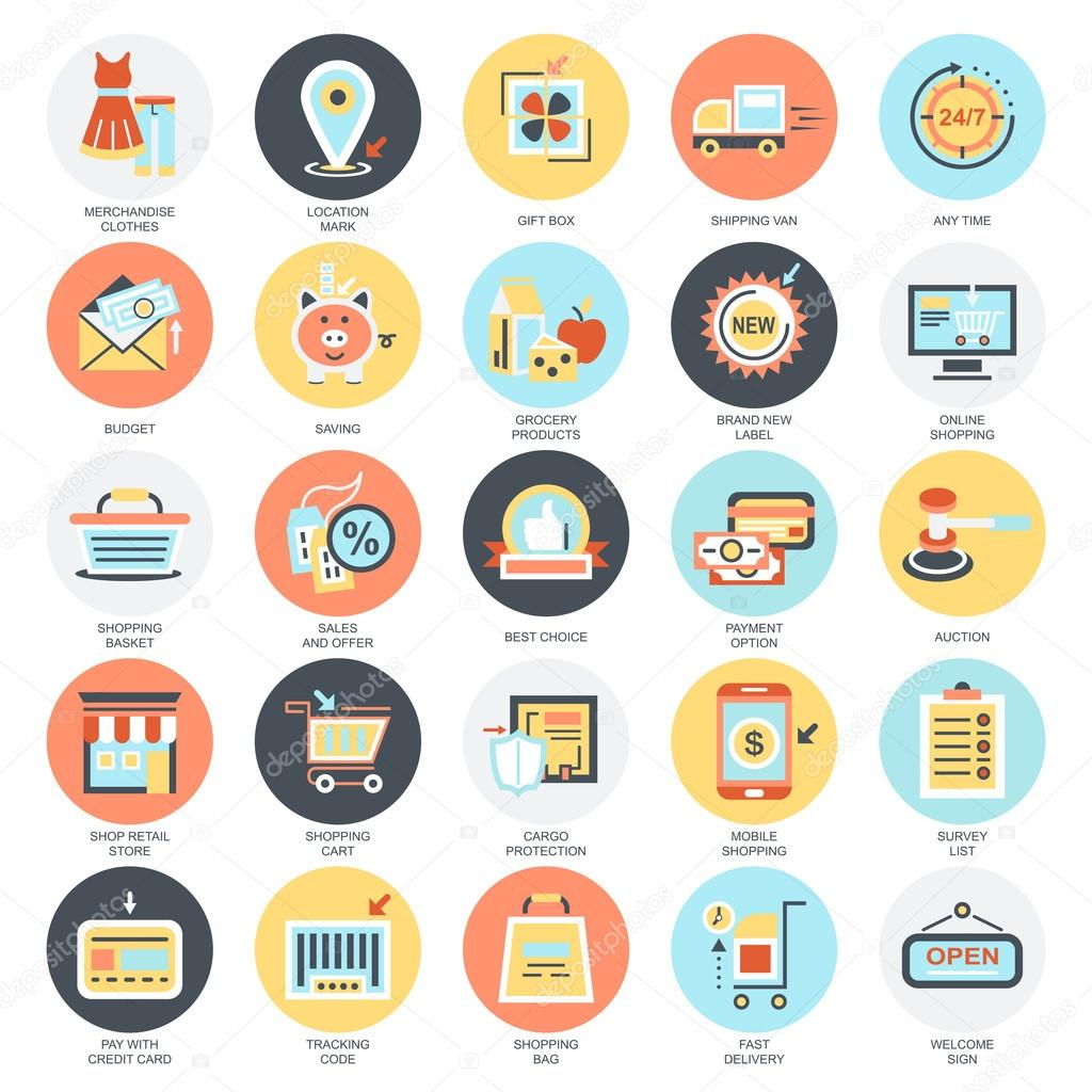 Flat conceptual icons set of e commerce internet shopping retail flat conceptual icons set of e commerce internet shopping retail store and online altavistaventures Image collections