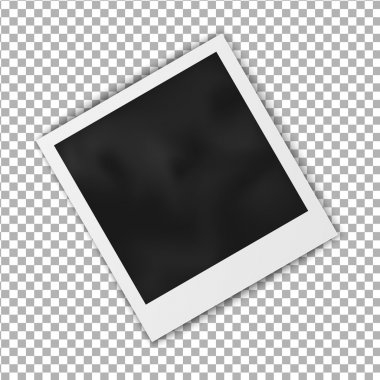 Realistic blank photo frame polaroid frame isolated on transparent background, shadow effect and empty space for your photography and picture. Vector illustration.