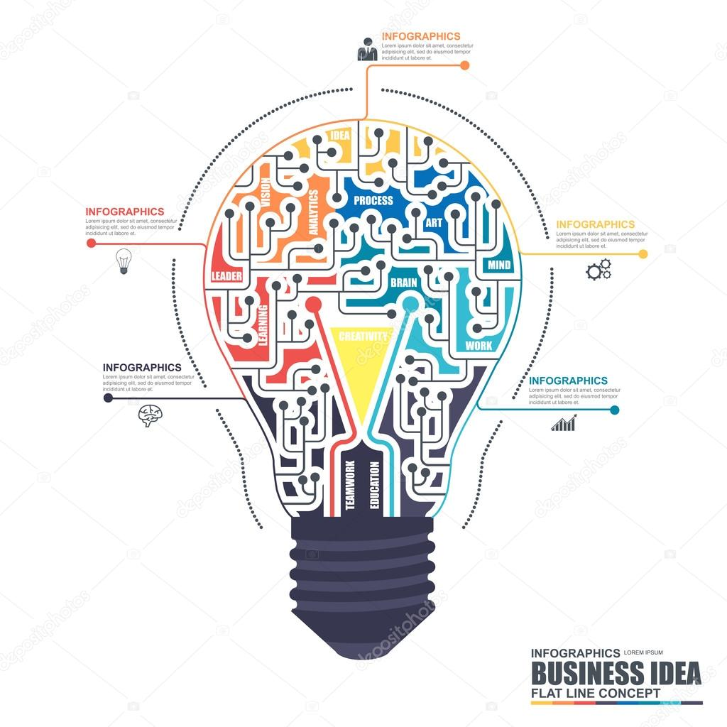 Thin Line Flat Business Light Bulb Infographic Elements