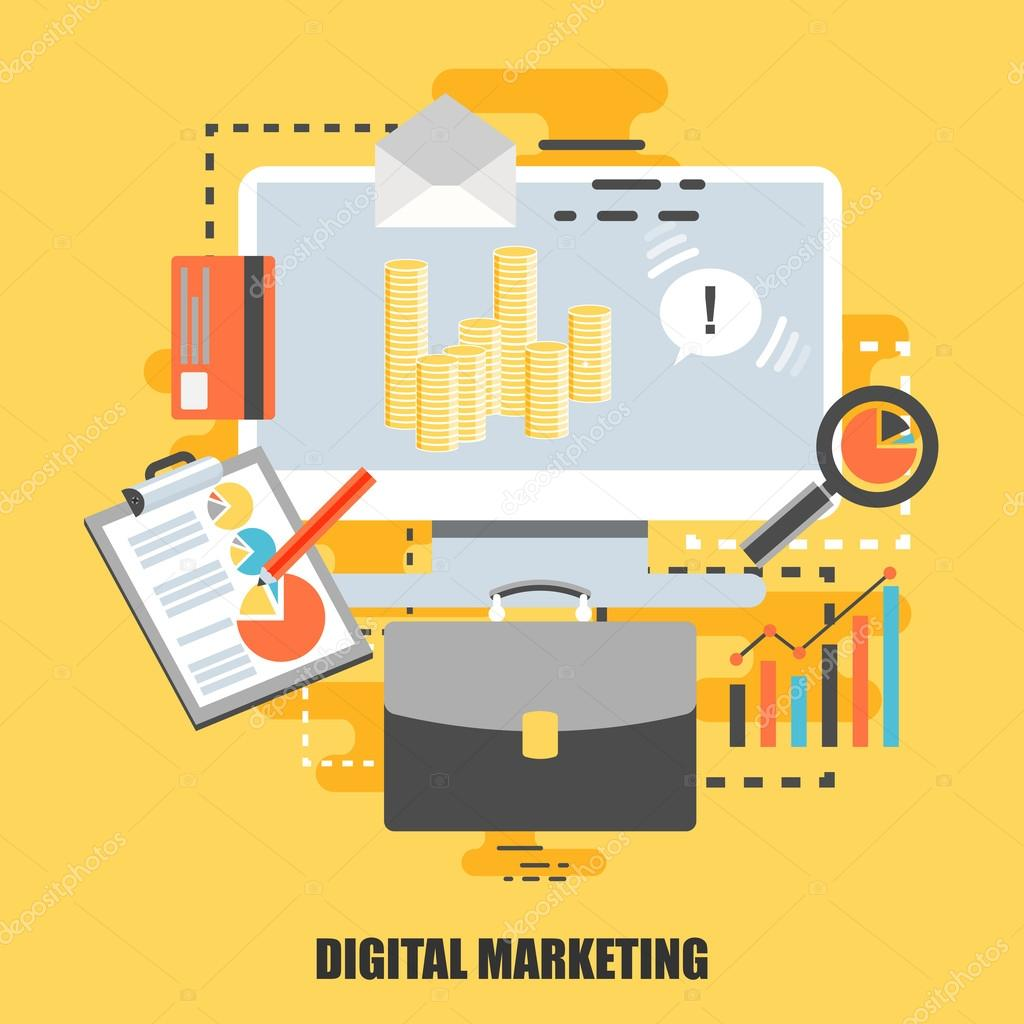 Flat concept of digital marketing can be used for poster banner can be used for poster banner flyer journal magazine web design best solution for graphic designers vector illustration eps10 vetor de alexdndz ccuart Images
