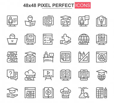 Online education thin line icon set. Distance learning outline pictograms for website and mobile app GUI. Online webinar, courses simple UI, UX vector icons. 48x48 pixel perfect pictogram pack. icon