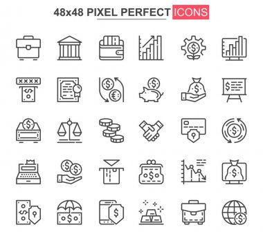 Business finance thin line icon set. Financial accounting and audit outline pictograms for web and mobile app GUI. Online banking simple UI, UX vector icons. 48x48 pixel perfect pictogram pack. icon