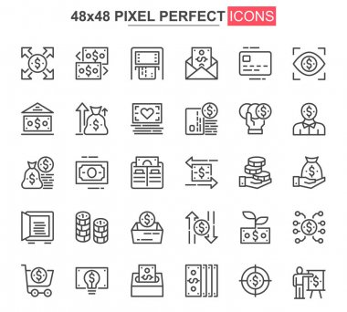 Money thin line icon set. Money management and saving outline pictograms for website and mobile app GUI. Capital investment simple UI, UX vector icons. 48x48 pixel perfect pictogram pack. icon