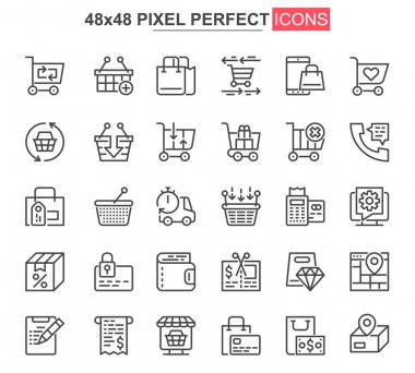 Online shopping thin line icon set. Internet marketplace outline pictograms for website and mobile app. Online order and delivery simple UI, UX vector icons. 48x48 pixel perfect pictogram pack. icon