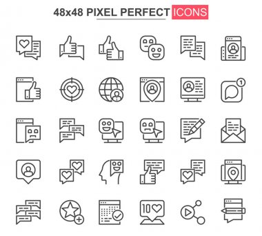 Social network thin line icon set. Online people communication outline pictograms for web and mobile app GUI. Messaging service simple UI, UX vector icons. 48x48 pixel perfect pictogram pack. icon