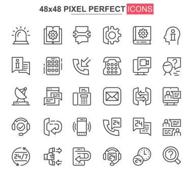 Support service thin line icon set. Customer support, hotline consultation outline pictograms for web and mobile app. Call center simple UI, UX vector icons. 48x48 pixel perfect pictogram pack. icon
