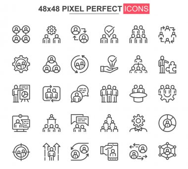 Teamwork thin line icon set. Business team collaboration outline pictograms for website and mobile app GUI. Human resource simple UI, UX vector icons. 48x48 pixel perfect pictogram pack. icon
