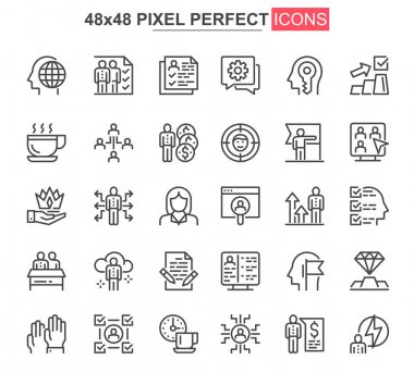 Business people thin line icons set. Business workflow, leadership and partnership unique design icons. Teamwork organization outline vector bundle. 48x48 pixel perfect linear pictogram pack. icon