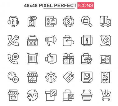 E-commerce thin line icons set. Online shopping, internet marketplace unique design icons. Customer support, order and delivery service outline vector bundle. 48x48 pixel perfect linear pictogram pack icon