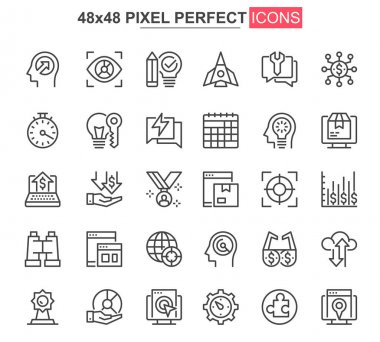 Startup thin line icons set. Business idea generation and development. Startup project, company founding unique design icons. outline vector bundle. 48x48 pixel perfect linear pictogram pack. icon