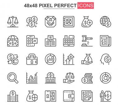 Finance thin line icons set. Online banking, capital investment unique design icons. Financial deposit, payment and exchange currency outline vector bundle. 48x48 pixel perfect linear pictogram pack. icon