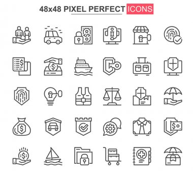 Insurance thin line icons set. Accidents protection and life insurance unique design icons. Financial safety, retirement program outline vector bundle. 48x48 pixel perfect linear pictogram pack. icon
