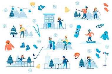 Winter sports bundle of flat scenes. People play hockey, skating and skiing isolated set. Skis, skates, snowboard, hockey stick and sportswear elements. Wintertime vacation cartoon vector illustration icon