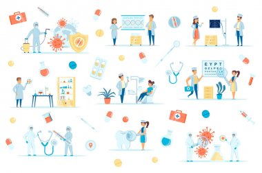 Coronavirus pandemic bundle of flat scenes. Virus research, vaccine development isolated set. Doctor and patient, laboratory, clinic elements. Prevention and disinfection cartoon vector illustration. icon