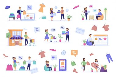 Shopping people bundle of flat scenes. Offer discounts in shop isolated set. Store website, bags, shoes, clothes, shoppers with purchases elements. Online marketplace cartoon vector illustration. icon