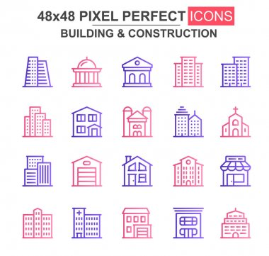 Building and construction thin line icon set. Church, cafe, museum, office center, skyscraper, clinic unique icons. Outline vector bundle for UI UX design. 48x48 pixel perfect linear pictogram pack. icon