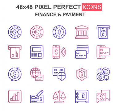 Finance and payment thin line icon set. Bank, currency, deposit, credit card, security, exchange, atm unique icons. Outline vector bundle for UI UX design. 48x48 pixel perfect linear pictogram pack. icon