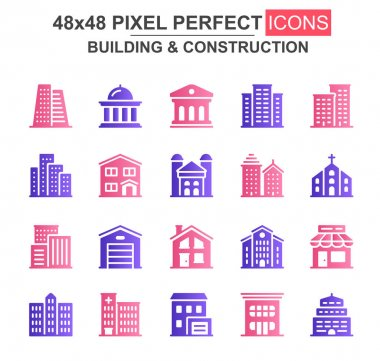 Building and construction glyph icon set. Church, cafe, museum, office center, skyscraper, clinic, hotel unique icons. Flat vector bundle for UI UX design. 48x48 pixel perfect GUI pictograms pack. icon