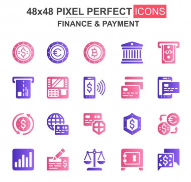 Finance and payment glyph icon set. Bank, currency, deposit, credit card, security, exchange, mobile wallet unique icons. Flat vector bundle for UI UX design. 48x48 pixel perfect GUI pictograms pack. icon