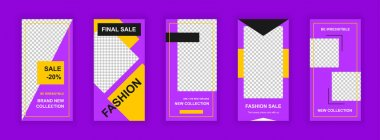 Fashion sale editable templates set for Instagram stories. Brand new collection, final sale promotion. Elegant design for social networks. Insta story mockup with free copy space vector illustration. icon