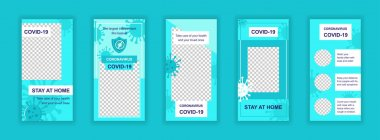 Coronavirus covid-19 editable templates set for Instagram stories. Stay at home, coronavirus pandemic layouts. Design for social networks. Insta story mockup with free copy space vector illustration. icon