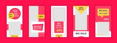Big sale editable templates set for Instagram stories. Offering sales discounts only today, marketplace promo. Design for social networks. Insta story mockup with free copy space vector illustration. icon