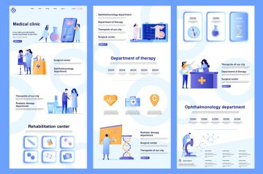 Medical clinic flat landing page. Medical rehabilitation center, modern hospital corporate website design. Web banner with header, middle content, footer. Vector illustration with people characters. icon