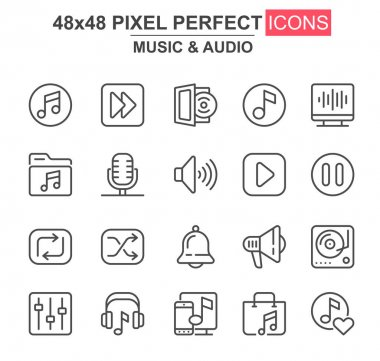 Music and audio thin line icon set. Player, mixer, equalizer, headphone, loudspeaker, record, microphone unique icons. Outline vector bundle for UI UX design. 48x48 pixel perfect linear pictogram pack icon
