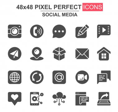 Social media glyph icon set. Message, call, chat, mail, smartphone, pinpointer, like, camera, cloud storage unique icons. Flat vector bundle for UI UX design. 48x48 pixel perfect GUI pictograms pack. icon
