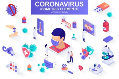 Coronavirus bundle of isometric elements. Drugs, vaccine, patient, safety mask, thermometer, doctor, microscope, coronavirus cell isolated icons. Isometric vector illustration with people characters. icon