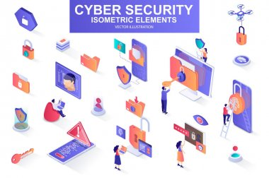 Cyber security bundle of isometric elements. Fingerprint scanner, padlock, password, firewall, data folder, electronic security key isolated icons. Isometric vector illustration with people characters icon