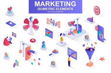 Marketing strategy bundle of isometric elements. Marketing funnel, lead generation, research and strategy planning, megaphone isolated icons. Isometric vector illustration kit with people characters. icon
