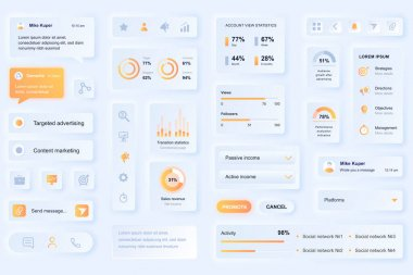 User interface elements for social media marketing mobile app. Unique neumorphic design UI, UX, GUI, KIT elements template. Neumorphism style. Different form, components, button, menu, vector icons. icon