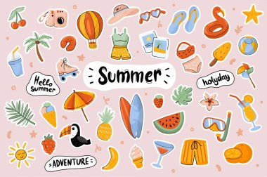 Hello Summer cute stickers template set. Bundle of clothes, shoes, food, drinks, objects. Holiday, sea resort, season entertainment. Scrapbooking elements. Vector illustration in flat cartoon design icon