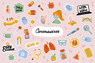 Coronavirus cute stickers template set. Bundle of health protection products, diseases treatment, medical items. Stay or work at home. Scrapbooking elements. Vector illustration in flat cartoon design icon