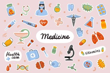 Medicine cute stickers template set. Bundle of doctor, treatment of diseases, drugs vitamins, medical items. Healthcare objects. Scrapbooking elements. Vector illustration in flat cartoon design icon