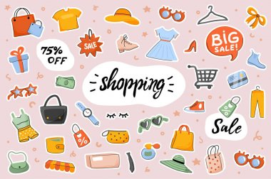 Shopping cute stickers template set. Bundle of clothes, shoes, accessories, purchases bags, shop items. Big sale discount prices. Scrapbooking elements. Vector illustration in flat cartoon design icon