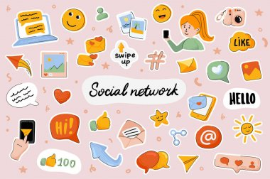 Social Network cute stickers template set. Bundle of posts, photos, comments, likes, subscribers, blog symbols. Online communication. Scrapbooking elements. Vector illustration in flat cartoon design icon