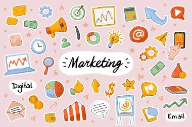 Marketing cute stickers template set. Bundle of marketer job symbols, analysis statistics, promotion strategy, profit growth, success. Scrapbooking elements. Vector illustration in flat cartoon design icon