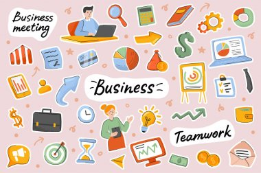 Business cute stickers template set. Bundle of teamwork, successful businessman and businesswoman, profit growth, investment symbols. Scrapbooking elements. Vector illustration in flat cartoon design icon