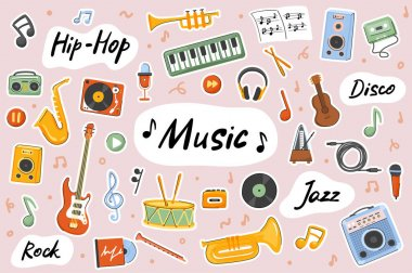 Music cute stickers template set. Bundle of guitar, drums, saxophone, jazz, rock, hip hop, song creation, recording. Musical symbols. Scrapbooking elements. Vector illustration in flat cartoon design icon