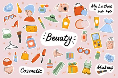 Beauty cute stickers template set. Bundle of face and body care procedures, routine, cosmetics, female makeup, stylish outfits. Scrapbooking elements. Vector illustration in flat cartoon design icon