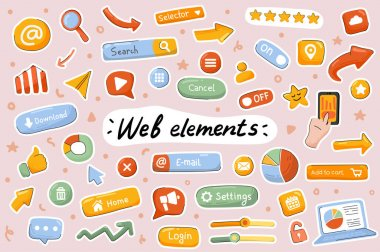 Web elements cute stickers template set. Bundle of site navigation, menu buttons, setting, mobile and computer page interface symbols. Scrapbooking objects. Vector illustration in flat cartoon design icon