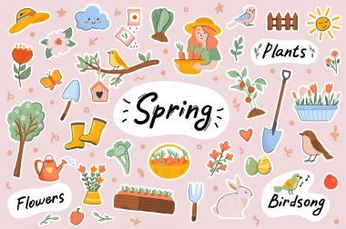 Spring cute stickers template set. Bundle of springtime symbols, Easter, blooming flowers, birds singing, gardening, planting works. Scrapbooking elements. Vector illustration in flat cartoon design icon
