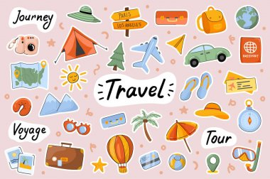 Travel cute stickers template set. Bundle of camping journey, sea resort tour, voyage, global tourism, baggage, traveler objects. Scrapbooking elements. Vector illustration in flat cartoon design icon