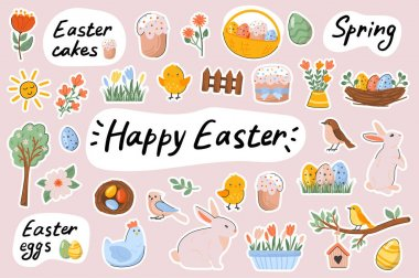 Happy Easter cute stickers template set. Bundle of festive cakes, eggs, bunnies, chickens, flowers, springtime holiday symbols. Scrapbooking elements. Vector illustration in flat cartoon design icon
