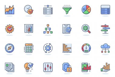 Big Data analysis web flat line icon. Bundle outline pictogram of business growth, statistic graph, finance chart, management, marketing concept. Vector illustration of icons pack for website design icon