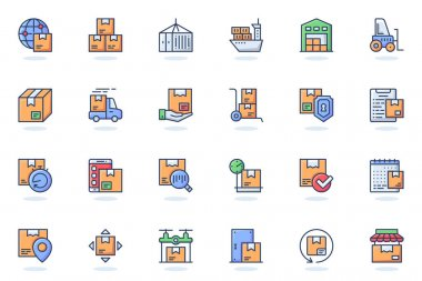 Delivery services web flat line icon. Bundle outline pictogram of shopping, courier, package protection, shipping, tracking order, parcel concept. Vector illustration of icons pack for website design icon