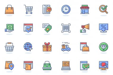 E-commerce web flat line icon. Bundle outline pictogram of shopping, store, discount, sale, cart, delivering, gift, payment, marketing concept. Vector illustration of icons pack for website design icon