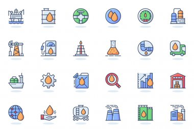 Industry web flat line icon. Bundle outline pictogram of Gas and petrol, global energy, fuel transportation, station, mining, production concept. Vector illustration of icons pack for website design icon